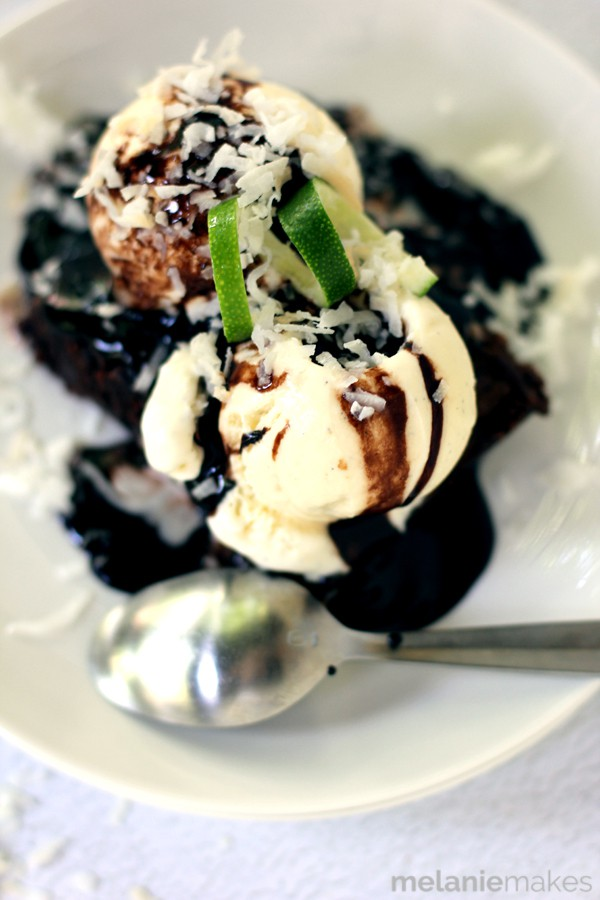 Coconut Lime Brownie Sundae - I bet this brownie sundae topped with coconut lime ice cream is perfect!