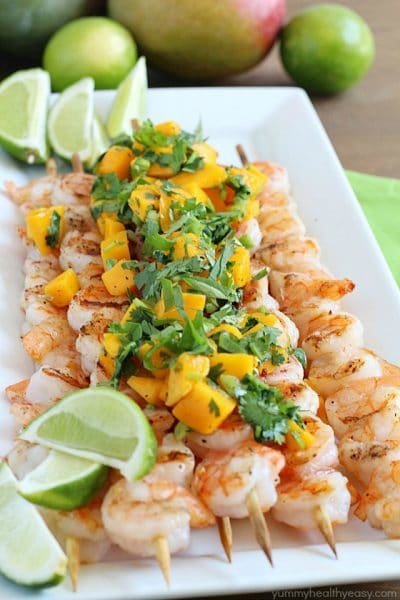 Healthy Grilled Shrimp Skewers with Mango Salsa - an easy and flavorful main dish that's the perfect summertime meal!