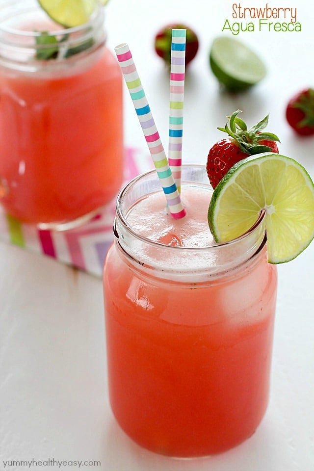 The most amazing Strawberry Agua Fresca recipe and it's as easy as can be! 4 ingredients and so refreshing.