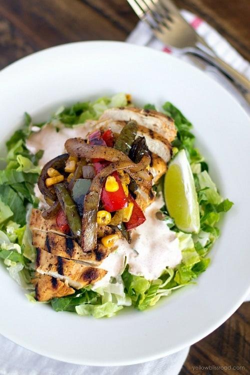 Chicken Fajita Salad by Yellow Bliss Road