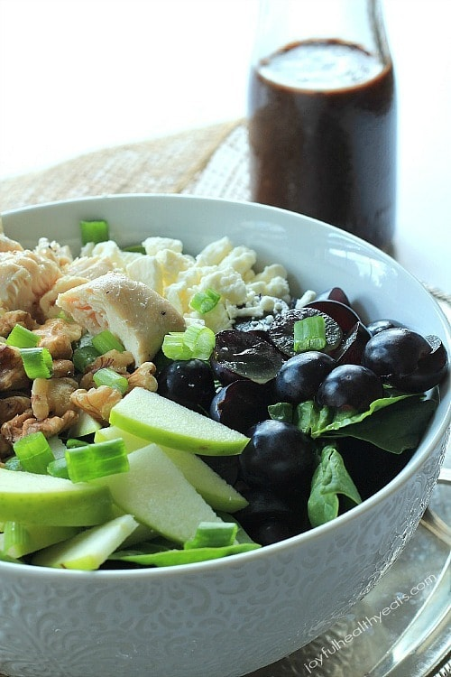Chicken Feta Walnut Grape Chopped Salad with Balsamic Vinaigrette by Joyful Healthy Eats