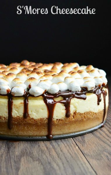 S'mores Cheesecake by WillCookForSmiles.com - Cheesecake topped with chocolate topped with toasted marshmallows!!