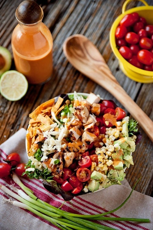 Southwest Chicken Cobb Salad with Chipotle Lime Dressing by The Creative Bite
