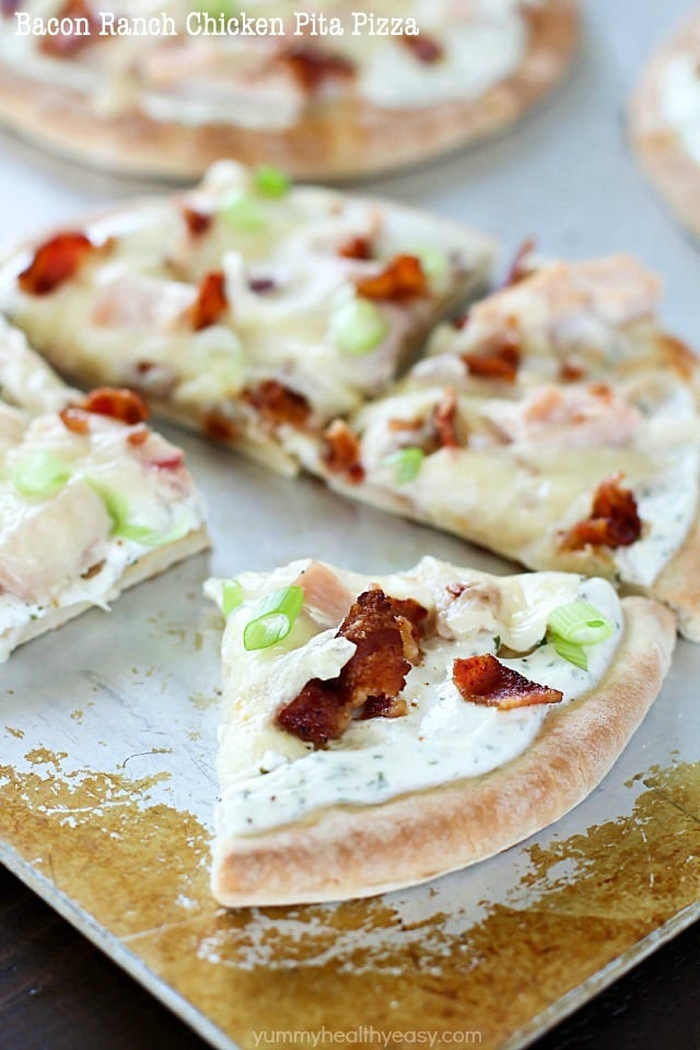 Bacon Ranch Chicken Pita Pizza is topped with ranch dip, chicken, bacon and cheese for a quick and easy lunch, dinner or snack. They have tons of flavor with only a few ingredients and take 30 minutes or less to make! #sponsored #ad
