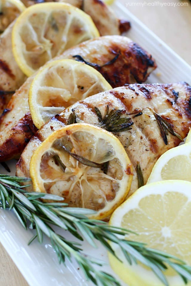 Grilled Lemon Rosemary Chicken - Yummy Healthy Easy