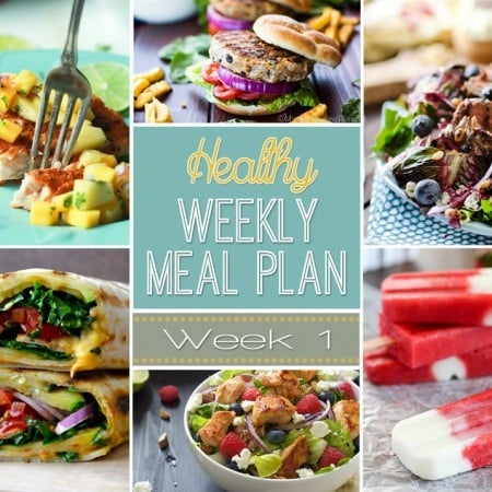 Healthy Meal Plan Week #1 - A delicious mix of healthy entrees, snacks and sides make up this Healthy Weekly Meal Plan for an easy week of nutritious meals your family will love!