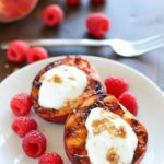 Don't put away that grill after dinner! Throw some peaches on and let them caramelize with brown sugar, then fill them with yogurt. This healthy & easy grilled peaches dessert will blow your mind! #truvia #ad