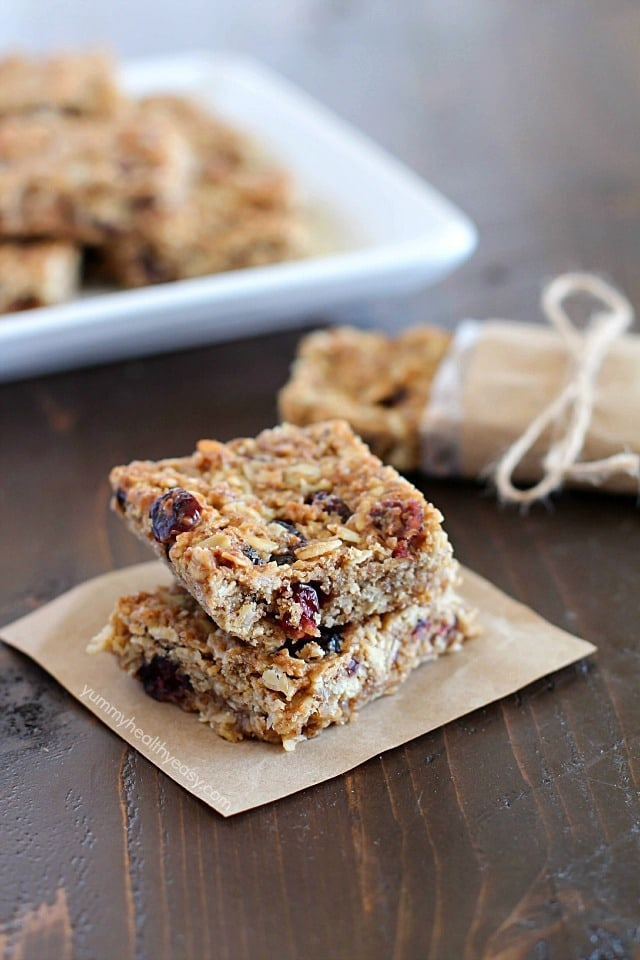 These Homemade Healthy Granola Bars are full of good stuff – oats, wheat germ, flax seed, dried cranberries, and applesauce to name a few! They're quick to make and are a great healthy snack to eat throughout the week. A family favorite!