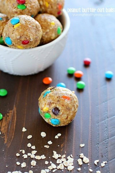 Peanut Butter Oat Balls with mini M&M's.
