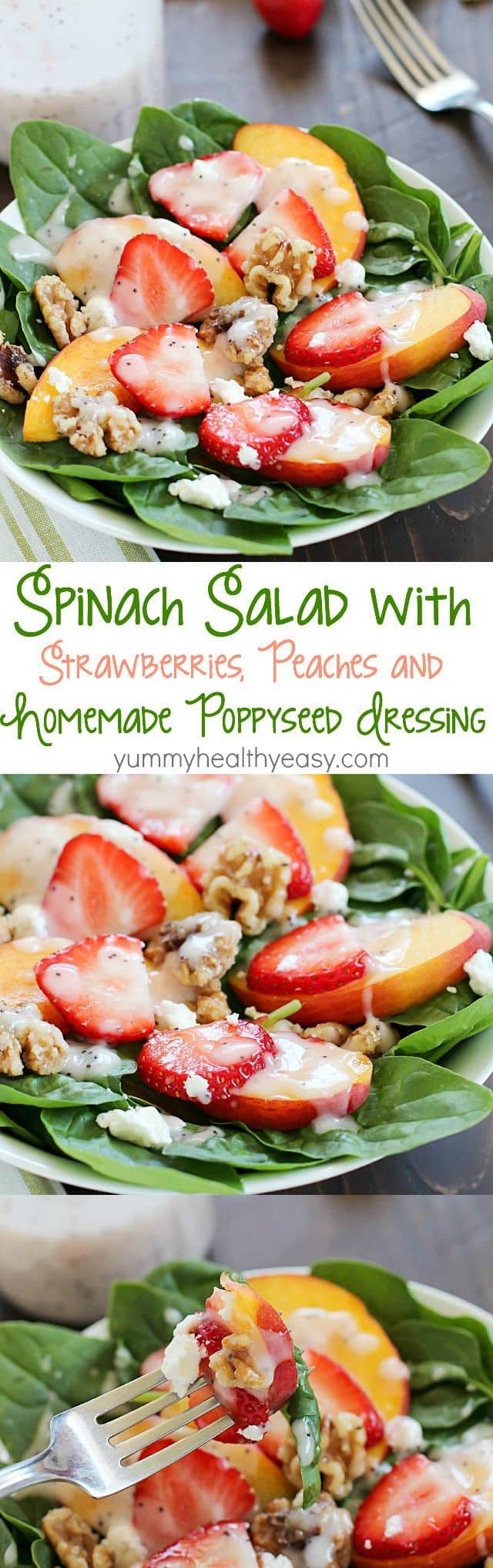 Spinach Salad with strawberries, peaches, candied walnuts, goat cheese ...