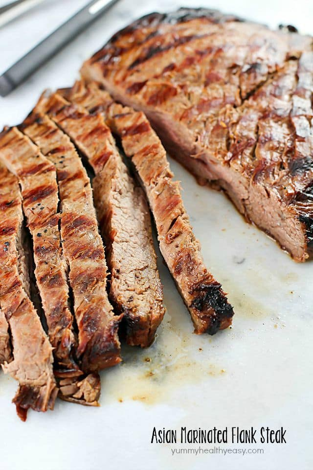 This Asian Marinated Flank Steak has few ingredients but tastes AMAZING!! Super simple and doesn't take long to cook, but is flavorful, juicy and tender. A must-make!