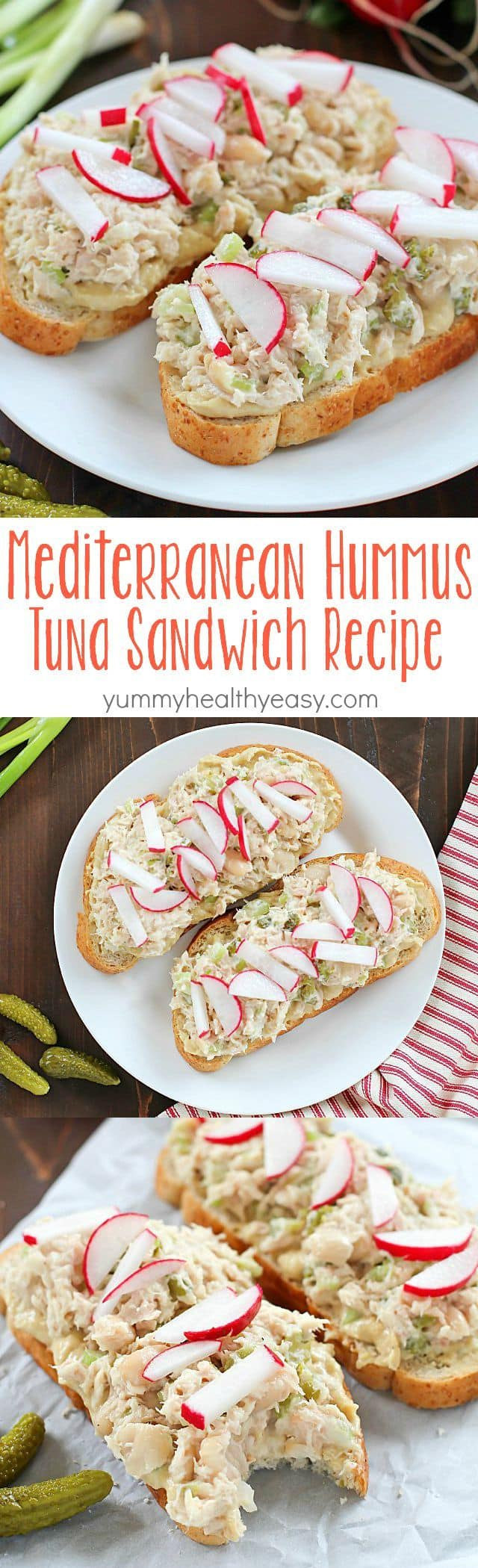 Take that boring tuna sandwich to the next level and make this Mediterranean Hummus Tuna Sandwich Recipe! It's easy, healthy and super flavorful! Definitely a lunchtime winner!