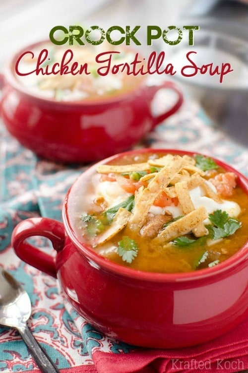 Crock Pot Chicken Tortilla Soup by The Creative Bite