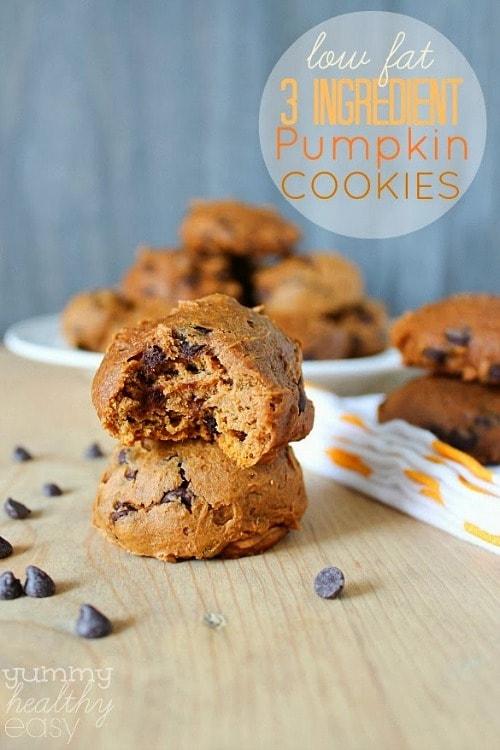 Low Fat 3-Ingredient Pumpkin Cookies by Yummy Healthy Easy
