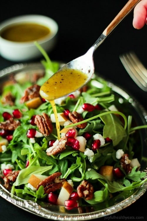Pomegranate Goat Cheese Arugula Salad with Candied Pecans by Joyful Healthy Eats