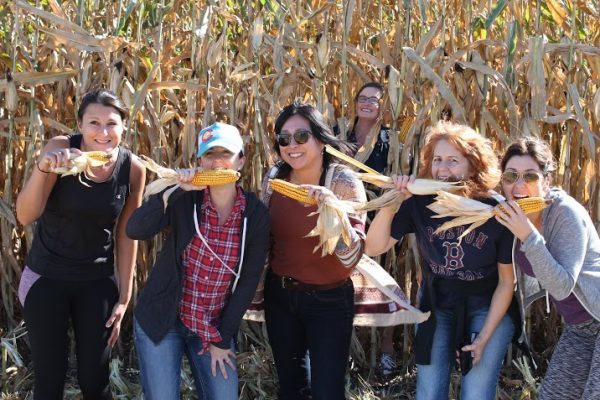 Lovely ladies from Pass the Pork Tour in front of the corn fields by Brenneman Farm!