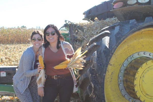 Hanging with Sandra next to the combine tractor!