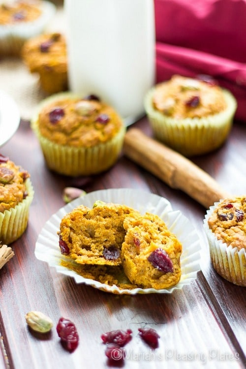 Healthy Pumpkin Cranberry Muffins by Mariah's Pleasing Plates