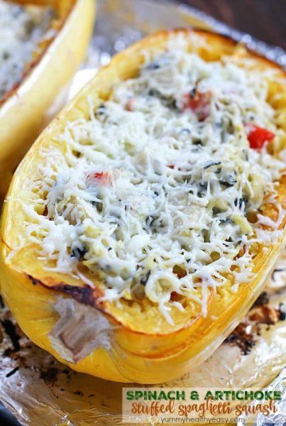 This recipe for Spinach & Artichoke Stuffed Spaghetti Squash is super easy and is a fabulous, flavorful, healthy meatless main or side dish. A healthy dish you can feel good about eating! #ad