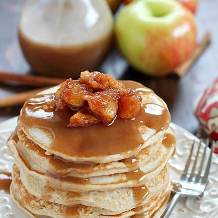 Applesauce Pancakes with Cinnamon Syrup