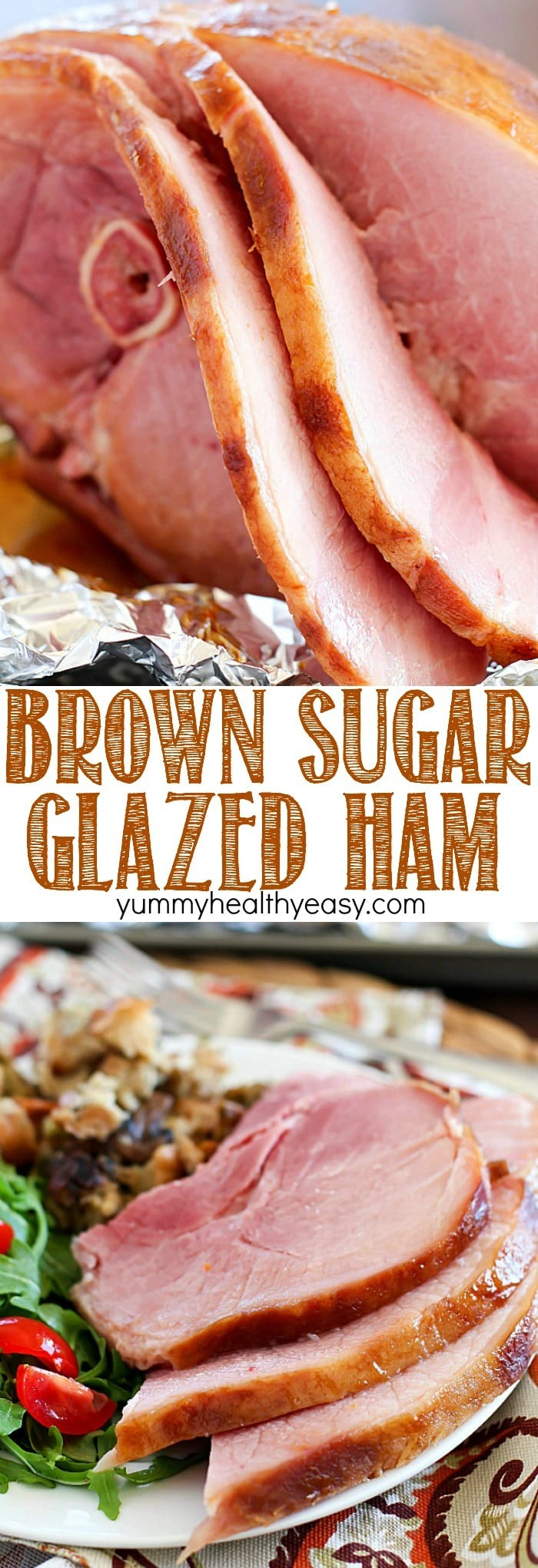 The juiciest, most tender Brown Sugar Glazed Ham ever and it's SO easy! Only a few simple ingredients to an incredible ham that will be a hit at your next holiday party!