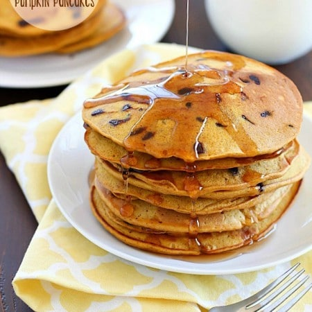 Dairy-Free Whole Wheat Chocolate Chip Pumpkin Pancakes