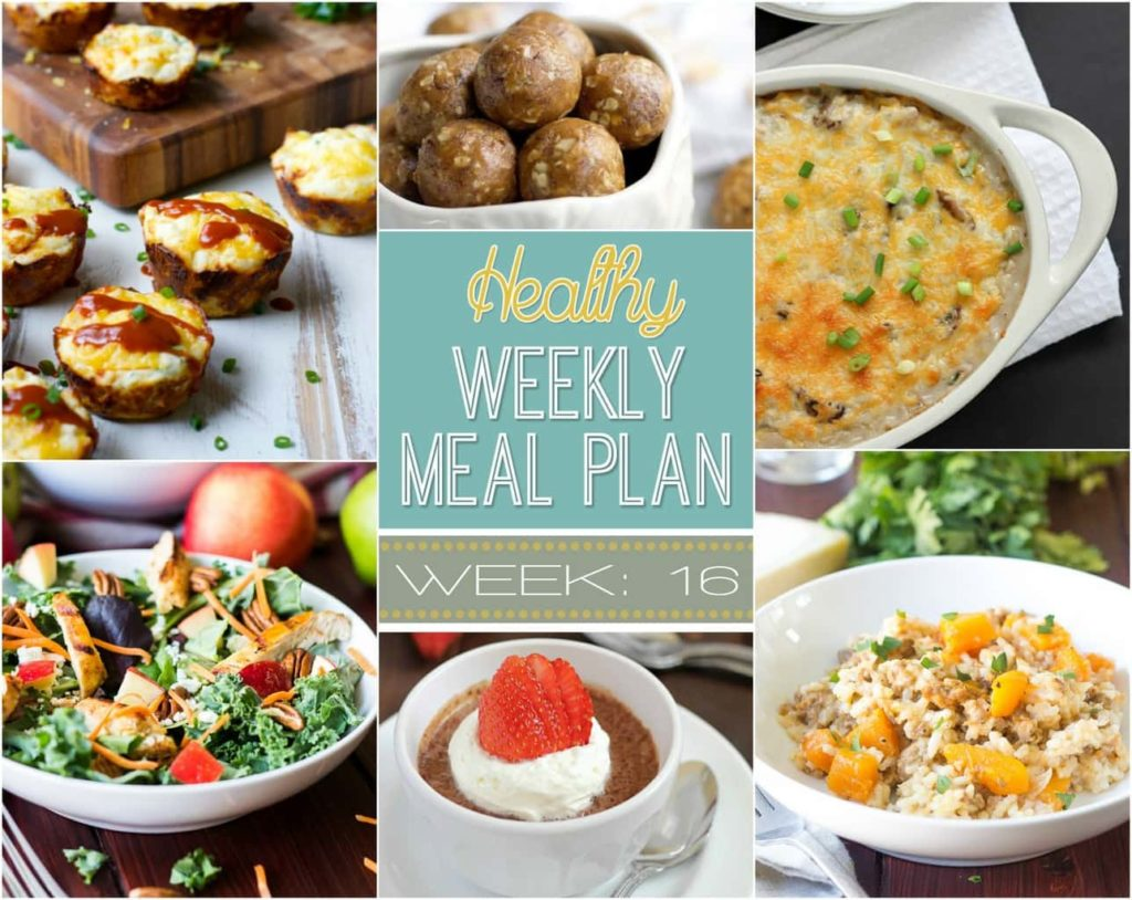 Healthy Weekly Meal Plan Week 16 - there are all sorts of goodies in this week's meal plan! Healthy breakfast, lunch, dinner and even a snack and dessert recipe too!