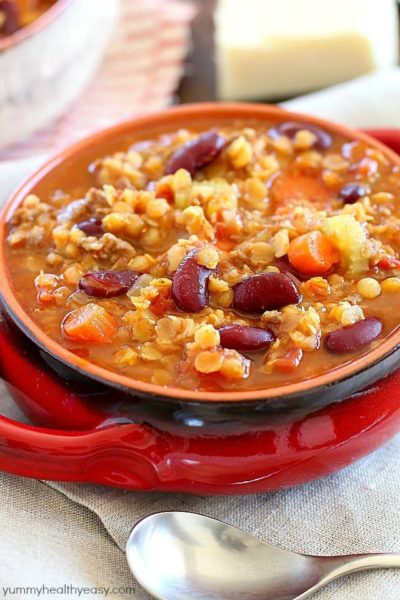 An incredible Sausage Lentil Chili full of veggies, beans, sausage, lentils and TONS of flavor!