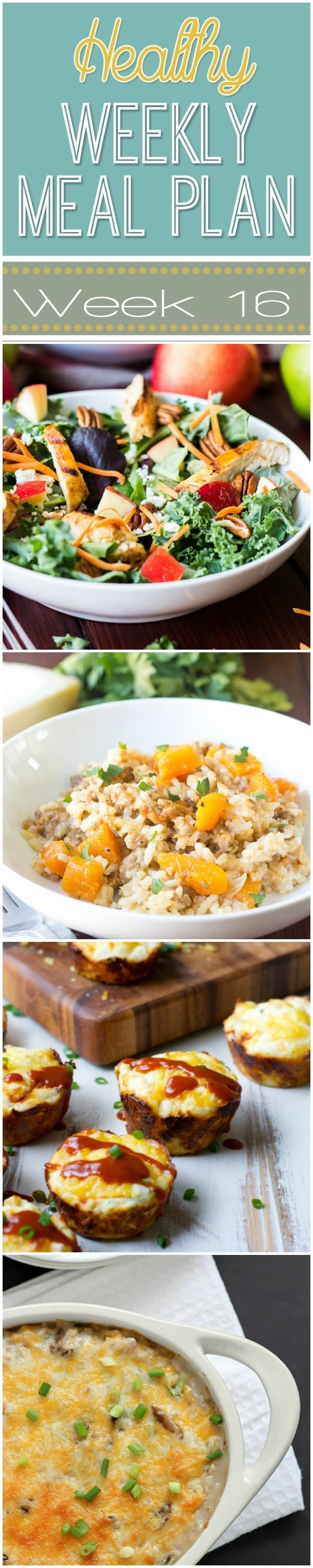 Healthy Weekly Meal Plan #16 - there are all sorts of goodies in this week's meal plan! Healthy breakfast, lunch, dinner and even a snack and dessert recipe too! You won't want to miss this one!