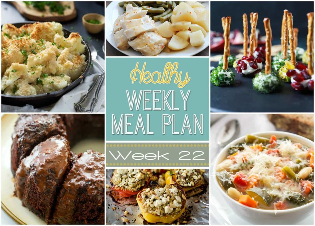 Healthy Weekly Meal Plan #22 - get your week's worth of healthy dinners planned out plus breakfast, lunch and snack ideas, too! You will love these healthy recipes!