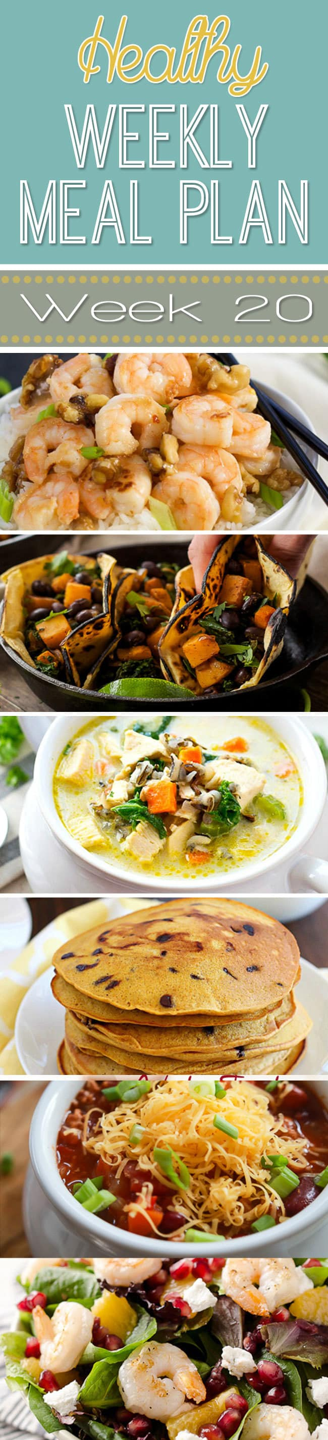 Healthy Weekly Meal Plan #20 is one of the best meal plans yet! It's full of delicious holiday meal ideas, quick dinners, and an easy lunch, snack and dessert recipe too! So many great recipes all in one roundup!
