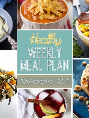 Are you ready for another Healthy Weekly Meal Plan? Week #21 has some of the yummiest comfort food dinners EVER. Plus an easy lunch, snack and dessert recipe too! So many great recipes all together so you can plan your week's meals with ease!