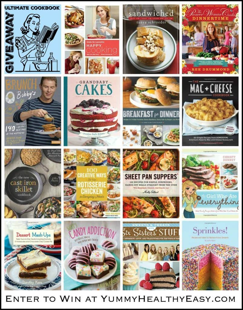 Ultimate Cookbook Giveaway on YummyHealthyEasy.com! This amazing giveaway is for a prize pack valued at over $200. If you love cookbooks, this one's for you!