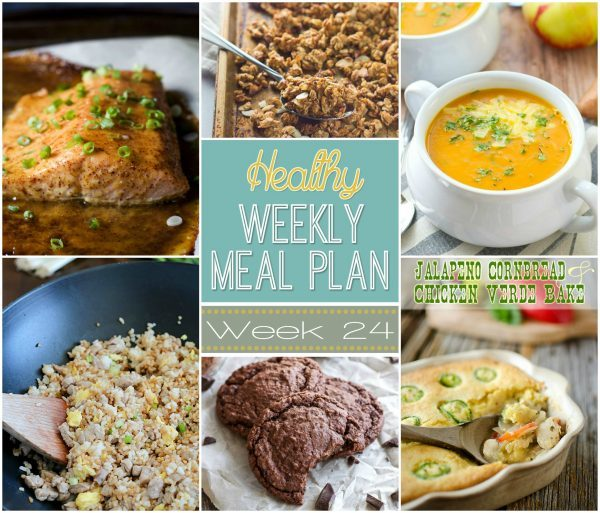 Healthy Weekly Meal Plan Week 24 is filled with so many great recipes! Lots of healthy main dishes to add to your dinner rotation! Plus a breakfast, lunch, snack and even an amazing dessert, too!