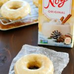 Baked Eggnog Donuts with Eggnog Glaze for the breakfast WIN! These homemade donuts are full of eggnog flavor, moist on the inside, totally easy to make and completely dairy free! If you like eggnog, these are a must-make! Perfect for Christmas breakfast!! AD
