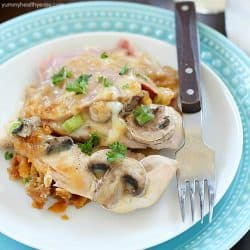 Chicken Cordon Bleu Casserole is an easy dinner recipe, cooked in one pan! Just layer in one dish and bake. So easy and so delicious! A great comfort food dinner for the whole family! AD