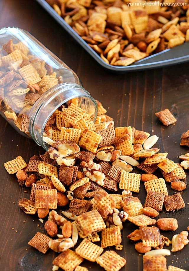 Maple Nut Party Mix is the easiest party mix you can make! This salty & sweet snack is perfect to bring to a party or to give out as gifts. Always a crowd-pleaser!