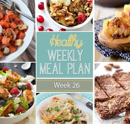 Healthy Weekly Meal Plan #26 is full of healthy comfort food dishes, and even a breakfast, lunch, side dish, snack and dessert recipe too!