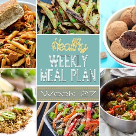 Healthy Weekly Meal Plan #27 is ready to go with healthy meals ranging from breakfast all the way to dessert! You will adore these healthy dinner recipes mixed in with breakfast, lunch, side dish and dessert. So many great dishes to plan out for the week!