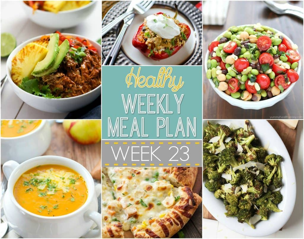 Plan out your meals this week with ease with our Healthy Weekly Meal Plan! Week 23 is filled with healthy main dishes to add to your dinner rotation. Plus a breakfast, lunch, snack and even an amazing dessert, too!
