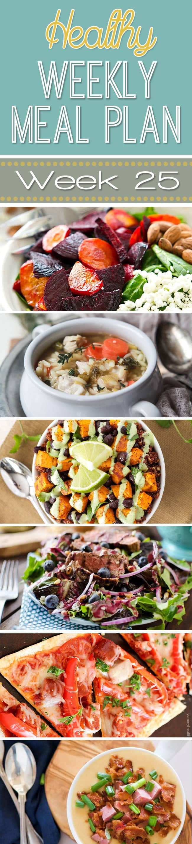 Healthy Weekly Meal Plan #25 is probably one of my favorite yet! Get a new dinner recipe every day plus a breakfast, lunch, side dish and even a healthy dessert recipe thrown in. You can eat healthy by using our healthy weekly menu plan!