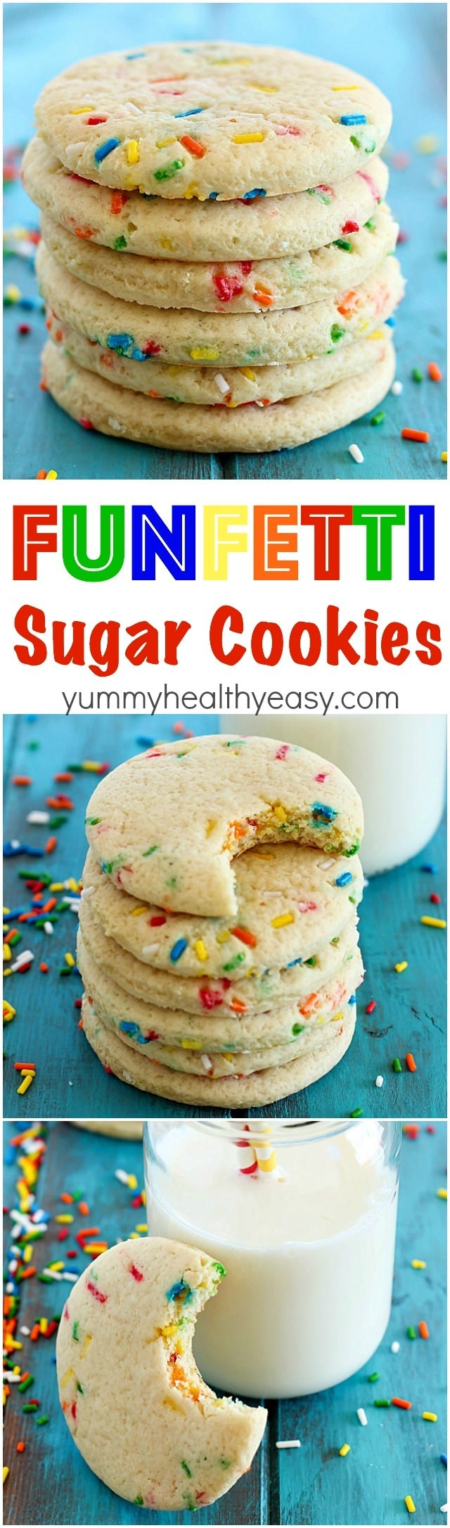 Funfetti Cookies to celebrate a special day! This is honestly the BEST sugar cookie recipe I've EVER had. They're soft, buttery and the sprinkles add just the right amount of crunch and sweetness! Great with or without frosting.