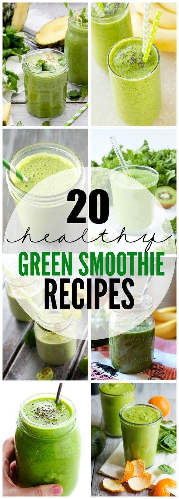 Green smoothies are a quick and simple way to get your veggies in and jumpstart your day with natural energy! Here are 20 Healthy Green Smoothie Recipes to give your body the nutrition it needs to tackle the day.