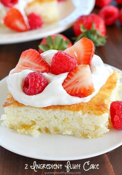 Fluff Cake is a delicious fat-free, low-calorie dessert with only TWO easy ingredients! It's the easiest dessert to make and comes out fluffy and light. Great served with fruit and whipped topping. :)