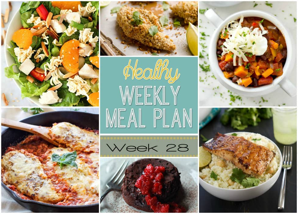 "Healthy Weekly Meal Plan #28 is your answer to the question ""what am I going to make for dinner this week?"" You will love these healthy dinner, breakfast, lunch, side dish and even a dessert recipe!"