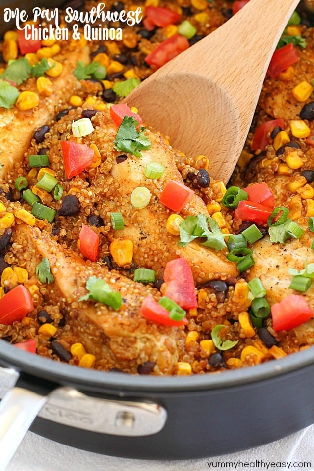 Southwest Chicken & Quinoa dinner cooked in only one pan and made in 30 minutes! You're definitely going to want to add this to your dinner rotation! It's gluten-free, high in protein and totally delicious! AD