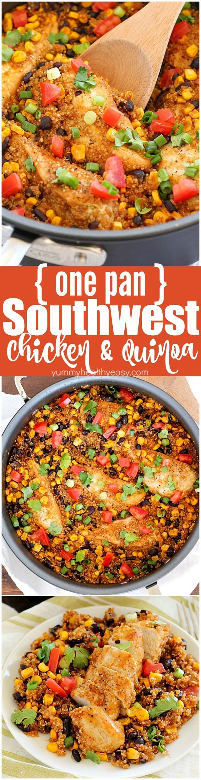Southwest Chicken & Quinoa dinner cooked in only one pan and made in 30 minutes! You're definitely going to want to add this to your dinner rotation! It's gluten-free, high in protein and totally delicious!