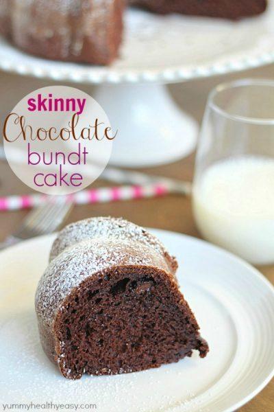 Skinny Chocolate Bundt Cake by Yummy Healthy Easy