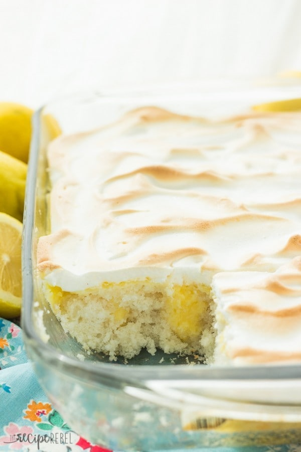 Skinny Lemon Meringue Poke Cake by The Recipe Rebel