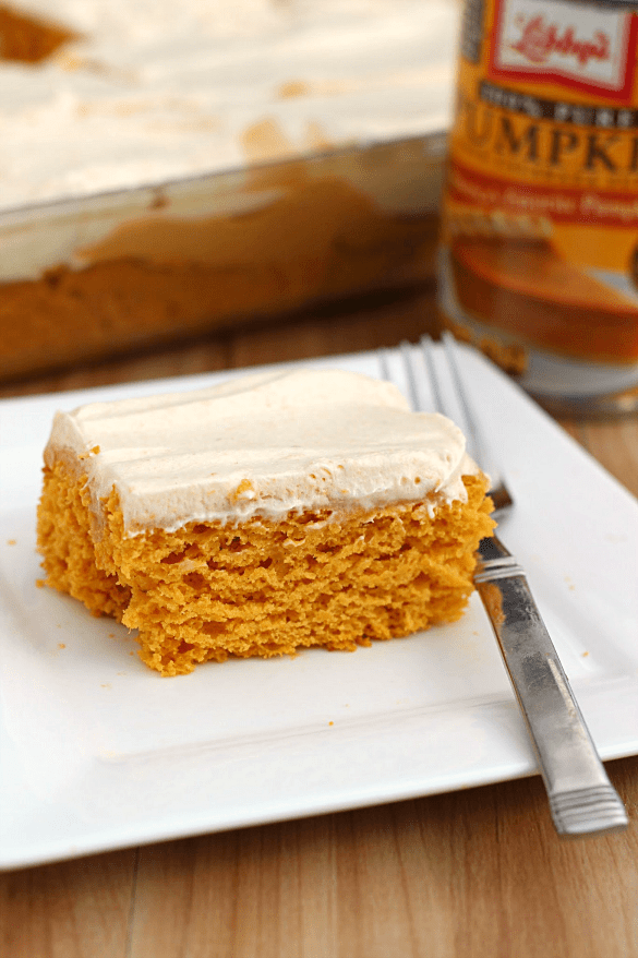Skinny Pumpkin Butterscotch Poke Cake by What's Cooking Love?